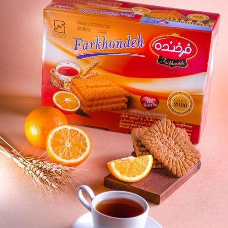 بیسکویت 2000 فرخنده با طعم پرتقال و تزیین شکر
