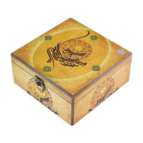 گز سکه لقمه 40 درصد پسته 400 گرمی جعبه چوبی برند عتیق   جی شاپ
