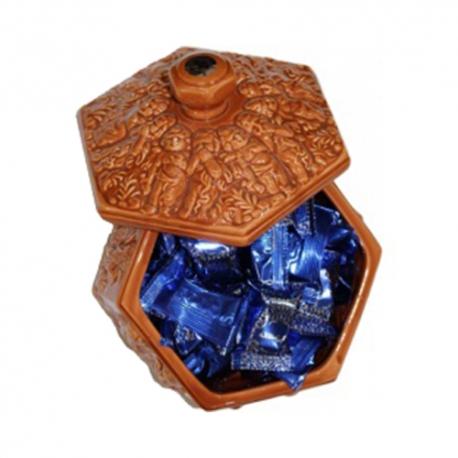 گز سکه لقمه 18 درصد بادام 300 گرمی زعفرانی سرامیکی برند عتیق   جی شاپ